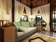 Romantic Bungalow in Caribbean Island Stock Images