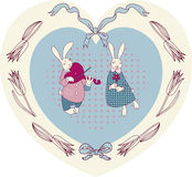 Romantic bunnies flirt Stock Image