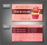 Romantic business card - front, back with cupcake Royalty Free Stock Images