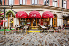 Romantic Cafe on Jarntorget Square in Stockholm Old Town Stock Photo