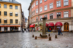 Romantic Cafe on Jarntorget Square in Stockholm Old Town Royalty Free Stock Photos