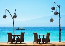Romantic Cafe On The Beach Stock Photo