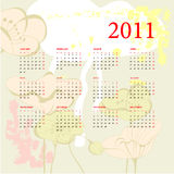 Romantic calendar for 2011. Universal template for greeting card, web page, background Royalty Free Stock Photo