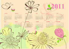 Romantic calendar for 2011. Universal template for greeting card, web page, background Stock Images