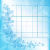 Romantic calendar template with hearts Royalty Free Stock Image