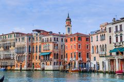 Romantic canal in center of Venice. Stock Image