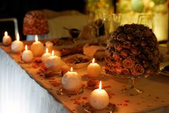 Romantic candes on table Royalty Free Stock Photography