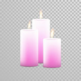 Romantic candle flame burning candles vector set. Romantic pink candle flame burning. Aromatic candles vector decorative set. Vector 3D realistic  round Stock Image
