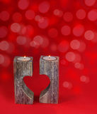 Romantic candle holder in the shape of heart for Valentine's Day Royalty Free Stock Image