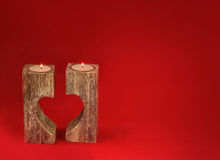 Romantic candle holder in the shape of heart for Valentine`s Day Stock Image
