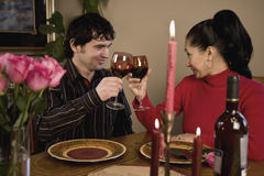 Romantic candle light dinner Stock Photos