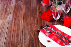 Romantic candle light Valentine Table Setting Royalty Free Stock Photography