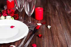 Romantic candle light Valentine Table Setting Stock Photography