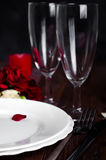 Romantic candle light Valentine Table Setting Royalty Free Stock Images