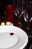 Romantic candle light Valentine Table Setting Royalty Free Stock Photo