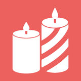 Romantic candle lines. Flat icon vector illustration. Romantic candle with lines. Flat white icon vector illustration EPS10 on red background Stock Images