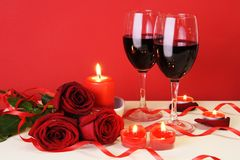 Romantic Candlelight Dinner Concept Horizontal. Romantic Candlelight Dinner for Two Lovers Concept Horizontal Stock Photos