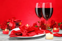 Romantic Candlelight Dinner for Two Lovers Stock Image