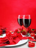 Romantic Candlelight Dinner for Two Vertical Stock Photo