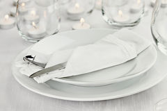 Romantic Candlelight Table Setting Royalty Free Stock Images