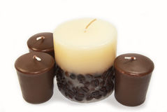 Romantic Candles. Four romantic candles with chocolate and coffee Royalty Free Stock Image