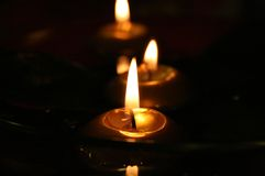 Romantic candles in the dark Royalty Free Stock Image