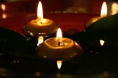 Romantic candles in the dark Stock Photography