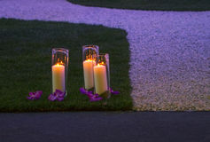 Romantic candles in garden Royalty Free Stock Image