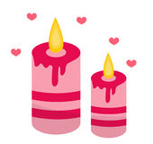 Romantic candles with hearts icon, flat design. Isolated on white background. Royalty Free Stock Images