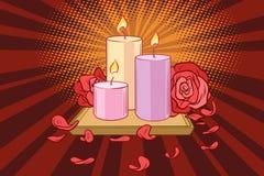 Romantic candles and rose petals. Comic book cartoon pop art retro illustration Stock Photography