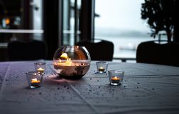 Romantic candles on wedding table Royalty Free Stock Photo