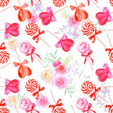Romantic candy with flowers watercolor seamless vector print Royalty Free Stock Images