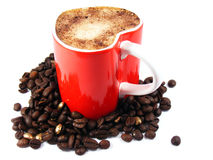 Romantic cappuccino coffee and roasted beans Royalty Free Stock Photography