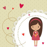 Romantic card. With little girl and hearts Royalty Free Stock Images