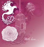 Romantic card with bird, roses and vintage cage Stock Photo