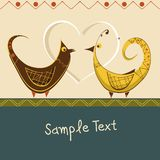 Romantic card with birds in love Royalty Free Stock Photos