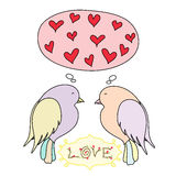 Romantic card with birds in love Royalty Free Stock Image