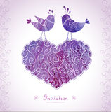 Romantic card with birds in love. Royalty Free Stock Photo