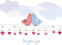 Romantic card with birds. Vector illustration Stock Photos