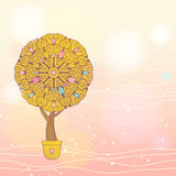 Romantic card with cartoon tree Stock Images
