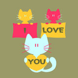 Romantic card with cats Royalty Free Stock Images