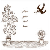 Romantic card concept. Cute flowers and swallow Stock Photo