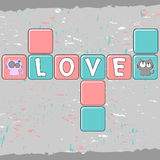 Romantic card with couple of kittens Royalty Free Stock Photography