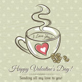 Romantic card with cup of hot drink and wishes text Royalty Free Stock Images