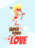 Romantic card with cupid as superhero in mask aiming at his goal. Stock Images