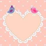 Romantic card with cute birds Royalty Free Stock Photo
