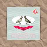 Romantic card with cute birds Royalty Free Stock Photos