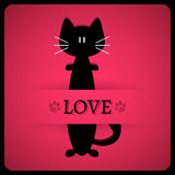 Romantic card with cute cat Stock Images