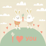 Romantic card with cute rabbits in love. Stock Image