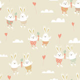 Romantic card with cute rabbits in love. Royalty Free Stock Photography